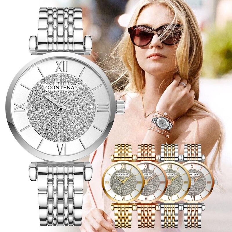 Часы CONTENA женские, модные, с бриллиантами, женские, под платье, 2019