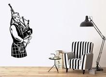 Wall Vinyl Applique Scottish Musician National Music Irish Bagpipes Poster Home Bedroom Art Design Decoration 2YY24