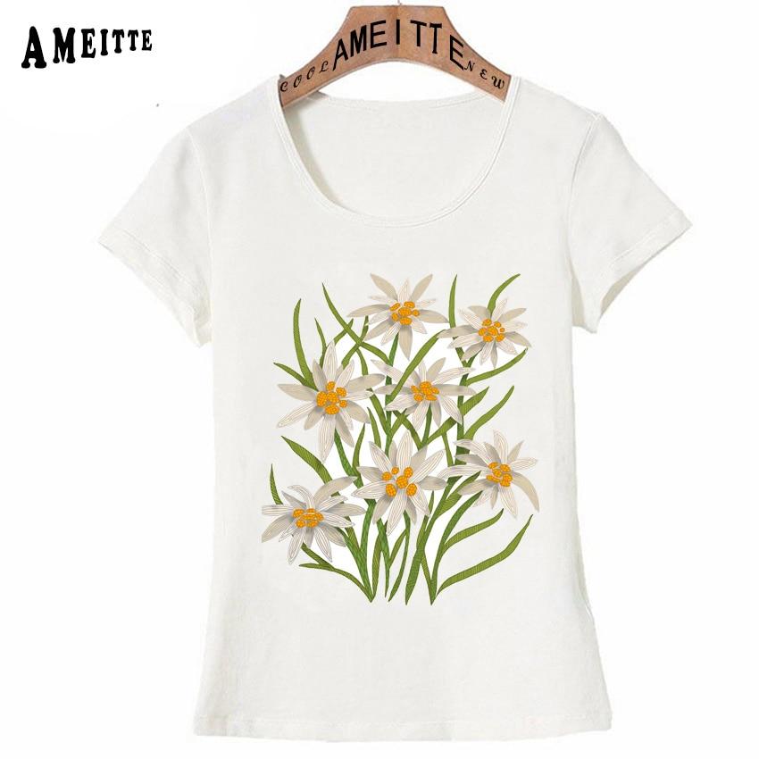 AMEITTE Summer Women t-shirt Beautiful Edelweiss flowers Print T-Shirt Cute Flower Design Simple Casual Tops Elegant Woman Tees