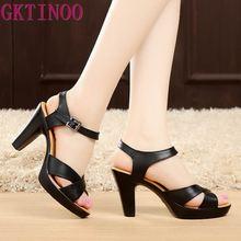 GKTINOO Fashion Genuine Leather Sandals 2020 New High Heel Summer Shoes Gladiator Open Toe Platform Sandals plus size