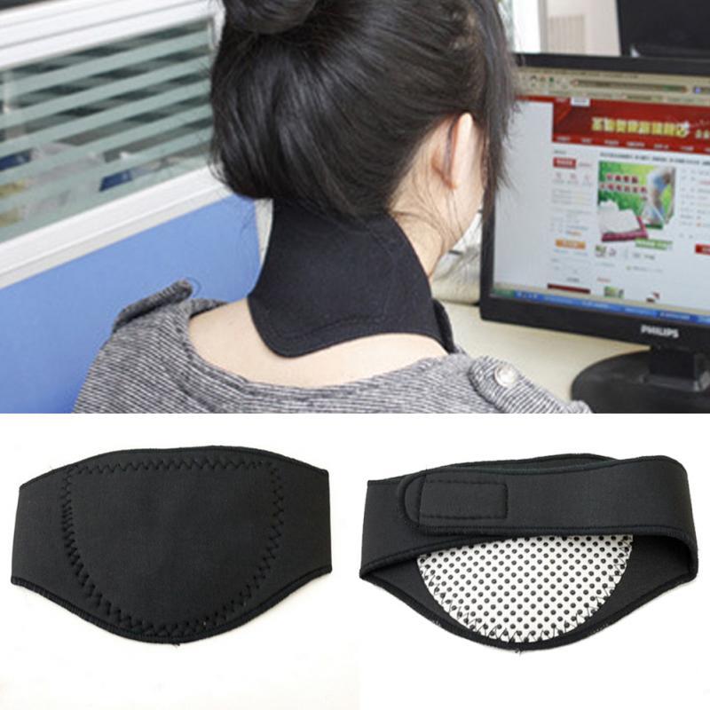 Gran oferta nueva útil saludable negro turmalina auto Calefacción magnética terapia cinturón para dolores de cabeza cuello masajeador cinturón de atención de la salud