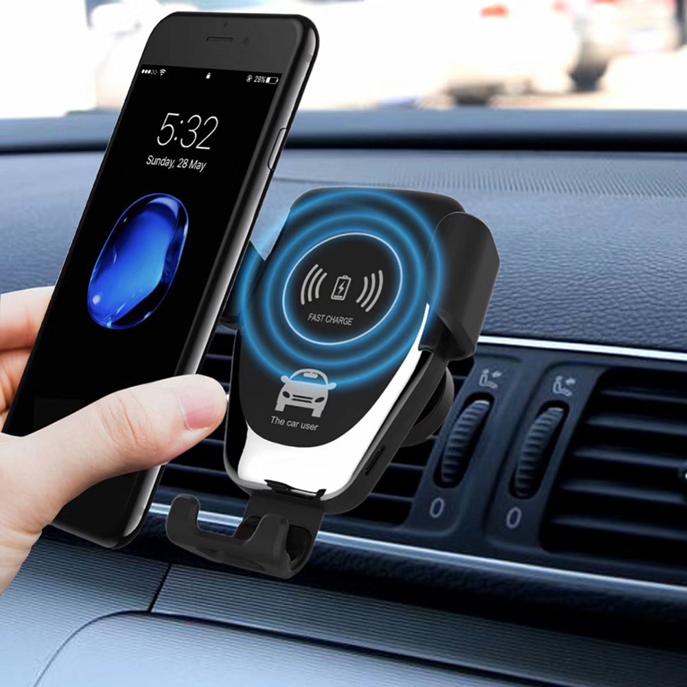 Cargador inalámbrico rápido para coche Qi para iPhone XS Max XR X Samsung S10 S9, soporte inteligente para teléfono y coche con carga inalámbrica para Xiaomi