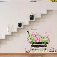 Elegant rose flore velo romantique doux amour maison stickers muraux stickers muraux art mural pour filles chambre salon cuisine decoration