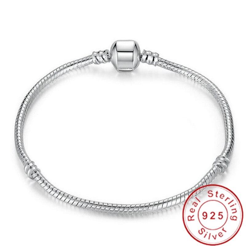 Большая распродажа, очаровательный оригинальный браслет из стерлингового серебра 925 пробы с цепочкой в виде змеи и браслетом, роскошные ювелирные изделия, 16-23 см, браслет для женщин, подарок