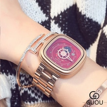 Hk marque de luxe Guou mode haute qualité bracelet en acier doré étanche montre personnalité calendrier Couple hommes femmes cadeau montres