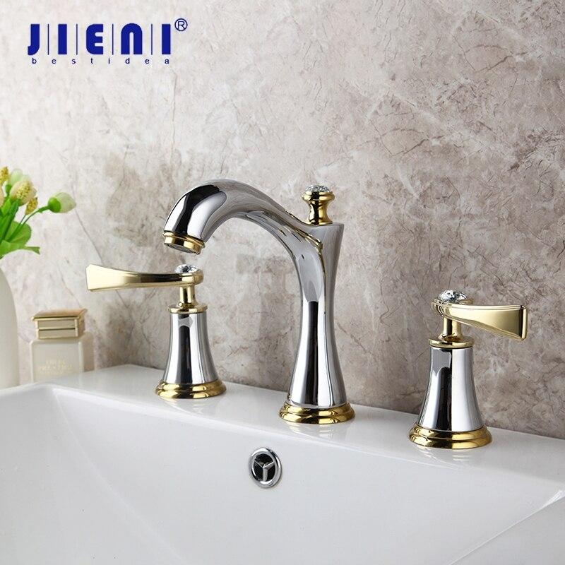 JIENI cromado de latón para baño 3 piezas de grifo conjunto de cubierta de corriente montada 2 mangos de diamante baño bañera lavabo grifo mezclador grifo