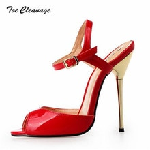 Toe Cleavage stilettos Sandals Summer shoes woman sexy 14cm Metal Thin High-Heeled Crossdresser Buckle Pumps Plus44 45 46 47 48