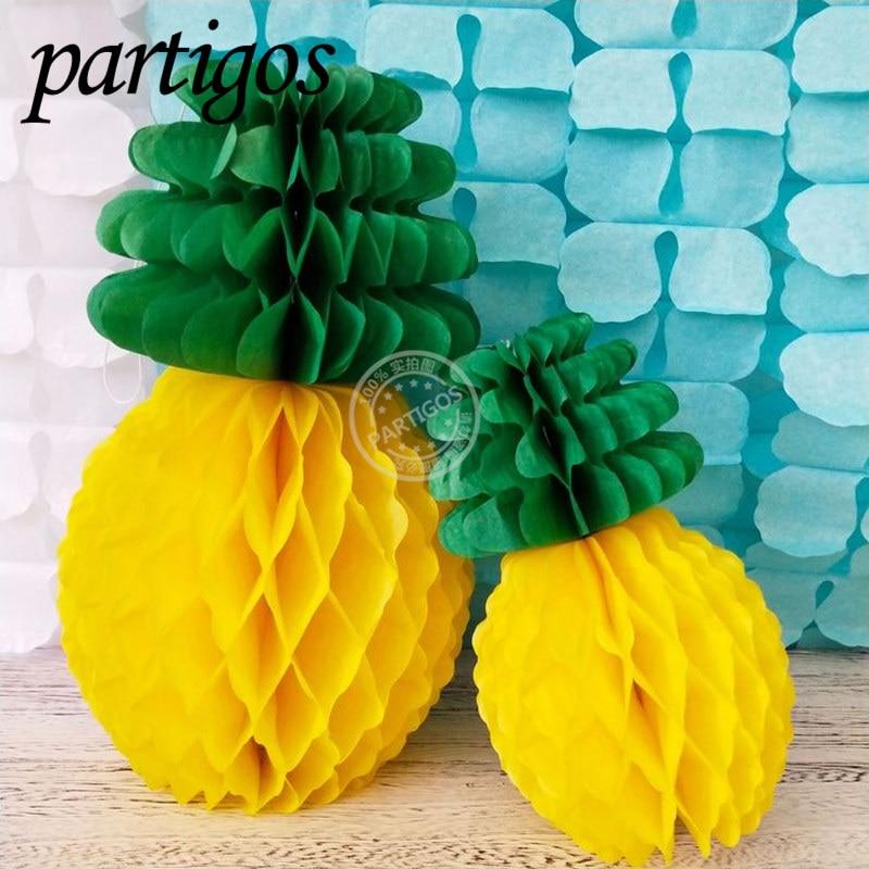 Tropical papel de piña Bola de nido de abeja linterna Hawaii fiesta decoración DIY suministros de fiesta papel flor linterna piña torta topper