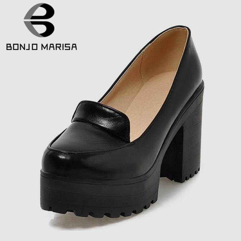 BONJOMARISA-حذاء نسائي بكعب عالٍ مربع ، حذاء نسائي غير رسمي ، خريفي ، صلب ، سهل الارتداء ، مقاس كبير 34-46 ، 2020