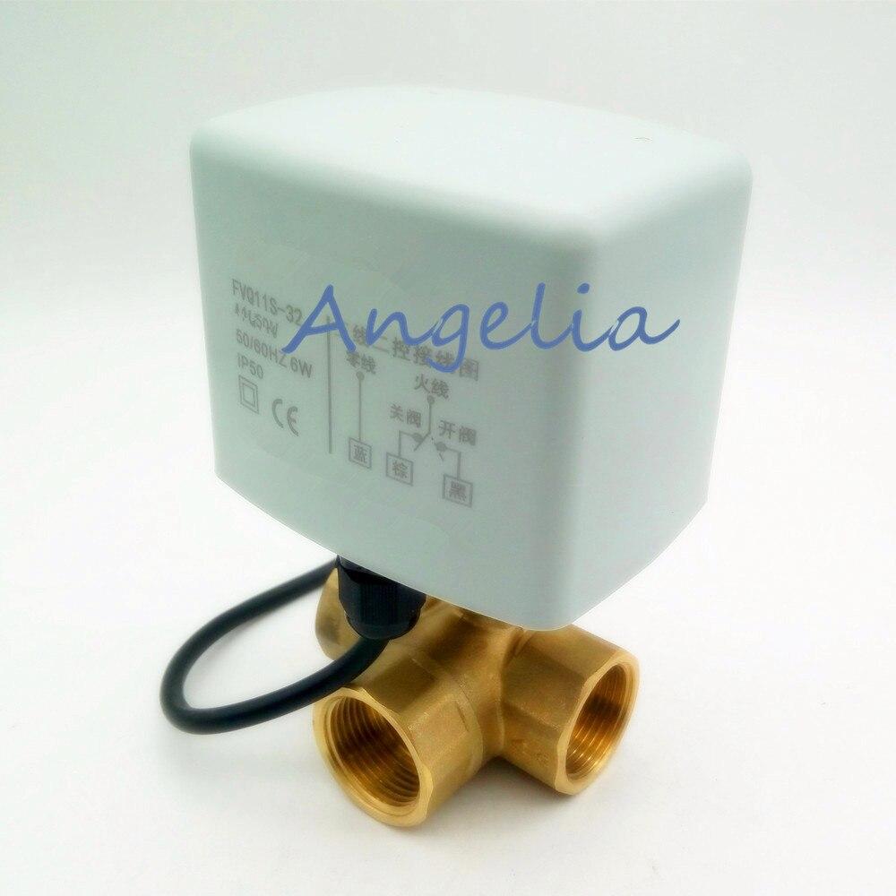 """Nuevo G1-1/4 """"DN32 latón 3 vías 220 V/24VAC 3 cables válvula de bola motorizada tipo L Válvula de actuador eléctrico"""