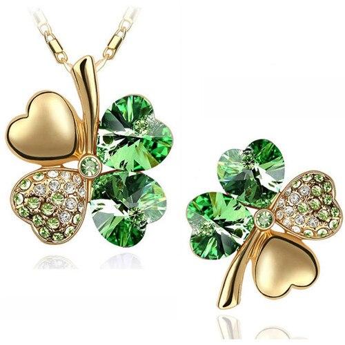 Cristal austriaco trébol 4 hojas moda colgante collar broche moda conjuntos de joyería envío gratis Oficina mujeres chica
