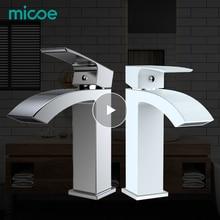 Micoe robinet de lavabo salle de bains   Mitigeur de baignoire à trou unique, robinet en céramique robinet chaud et froid