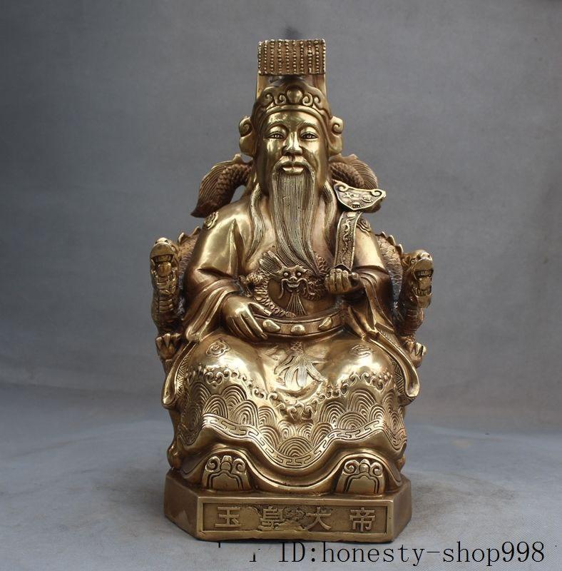 """Natal 15 """"china taoísmo cobre bronze deidade céu jade imperador selo dragão cadeira estátua"""