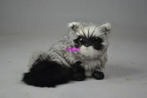 about  13x14cm gray raccoon Handmade model,polyethylene& furs toy home decoration Xmas gift w4013