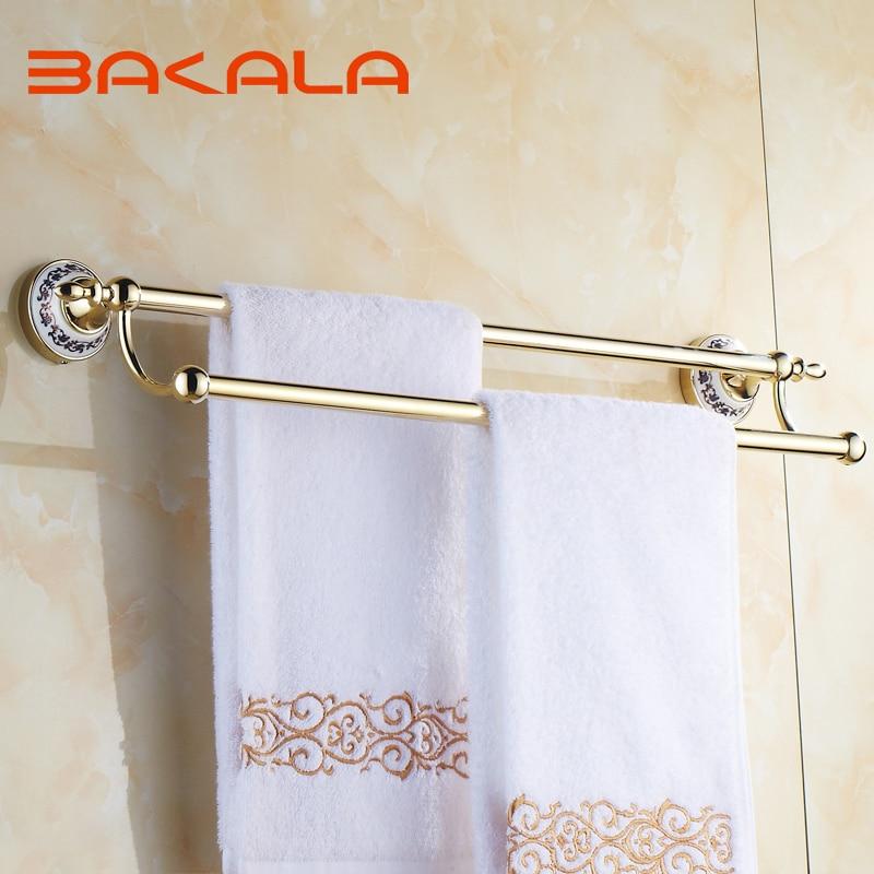 BAKALA شحن مجاني الجملة و التجزئة جدار الخيالة الذهب لوحة منشفة البارات حمام الذهبي المزدوج البولنديين منشفة قضيب BR-5510