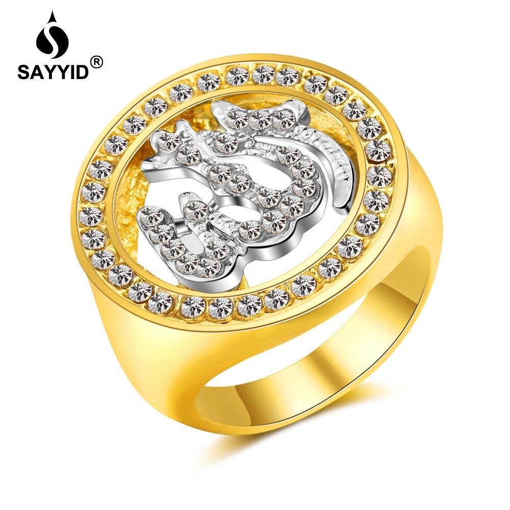 SAYYID Religiöse Schmuck für Nahen Osten Arabischen Muslimischen Islam Allah Ring frauen Strass Ring Geschenk R1818P