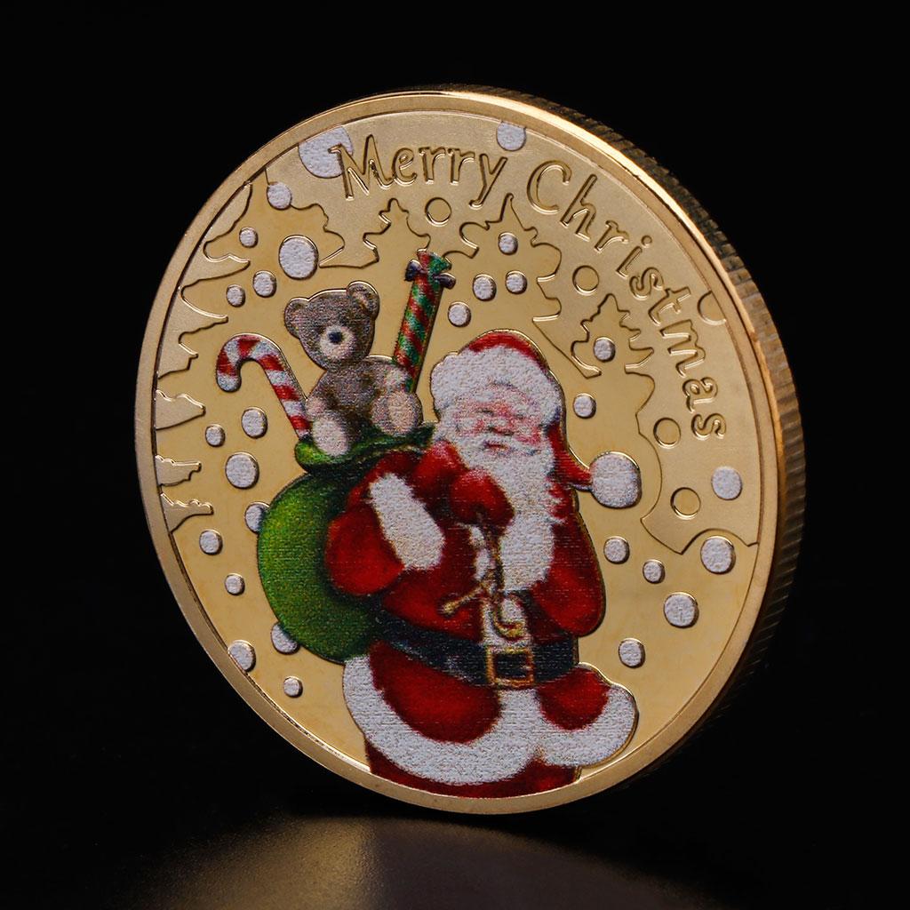 Moneda conmemorativa de Navidad 2018 regalos de Santa Claus regalo o recuerdo artesanías de Año Nuevo Oct18_A