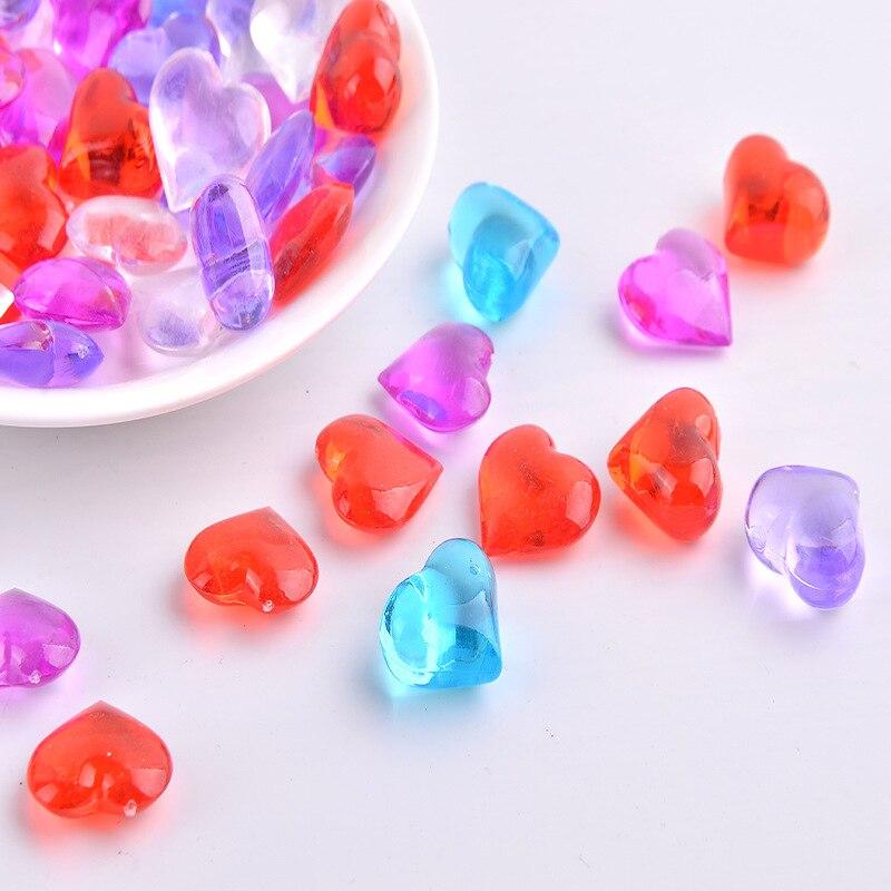 3D Corazón de resina de diamantes de imitación de cristal de color mixe acrílico cristal piedra plástico hielo fotografía pecera decoración piedra desnuda
