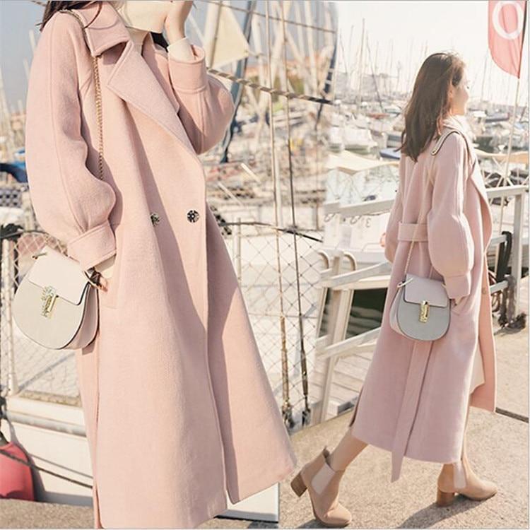 The new 2018 winter cloth coat more female pop long student's knee-high woolen cloth coat