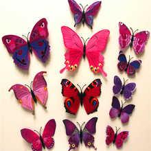 12 pièces/lot PVC 3D bricolage papillon Stickers muraux décor à la maison affiche pour cuisine salle de bain réfrigérateur adhésif à Stickers muraux décoration