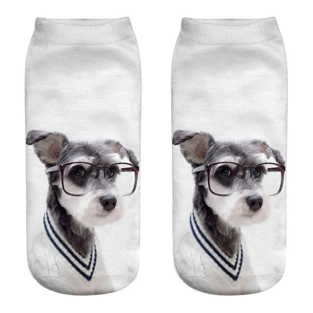 CHAMSGEND Primavera y novedad de verano patrón de cachorro impresión 3D calcetines cortos respirables Calcetines Bajos para ayudar Calcetines de barco calcetines Casuales
