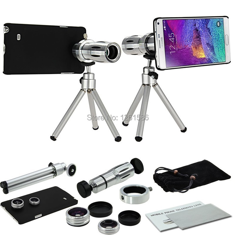 9 piezas foto de cámara Kit12X telescopio trípode + 3 lentes increíbles + cubierta de nota funda para samsung Galaxy note 5/S5 Neo S4 S6 Edge S8 +
