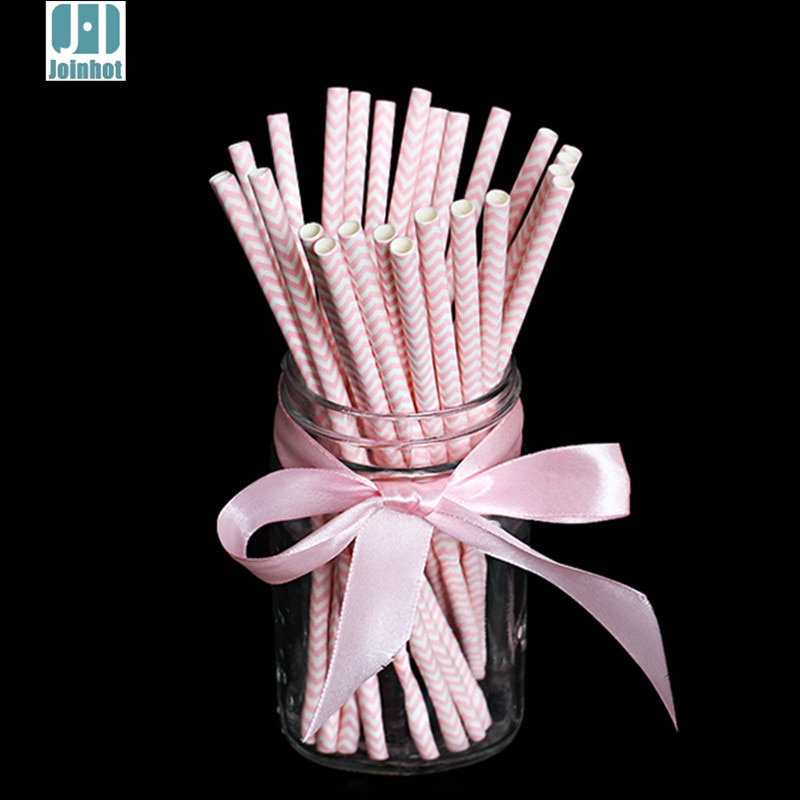 25 unids/lote hermosa rosa Chevron onda rayas papel pajitas tubos para beber fiesta suministros