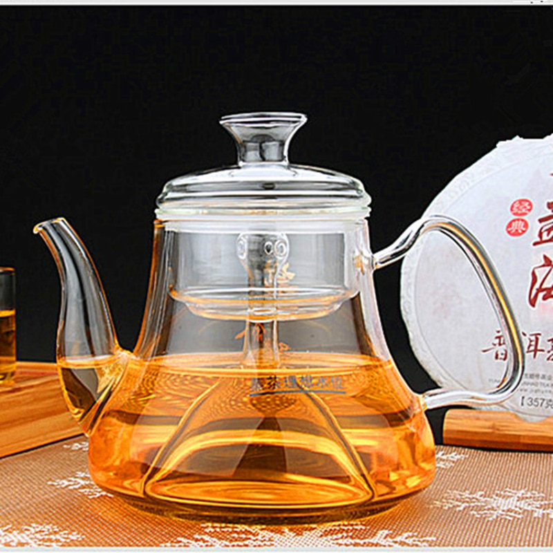 Tetera de vidrio grueso transparente, juego de té chino tradicional, tetera