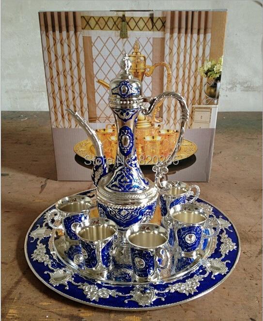 Free shipping silver finish with blue color metal wine set/tea set, fashion zinc alloy wine set, 1 set= 1 plate+ 1 pot +6 cups