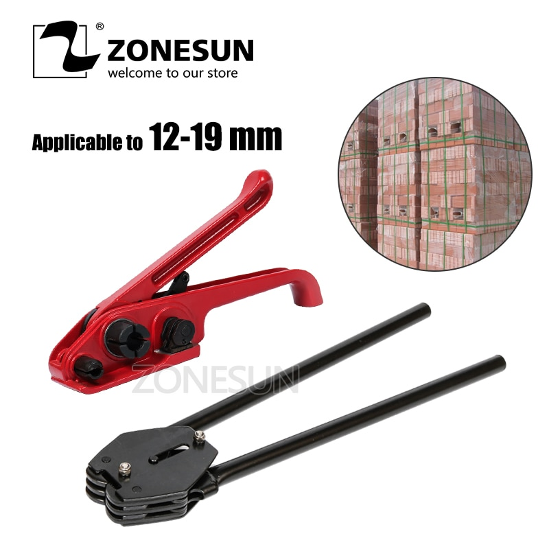 ZONESUN herramienta de embalaje de ladrillo Manual portátil de 12-19mm de mano PP correa de PET palet correa de cartón banda máquina