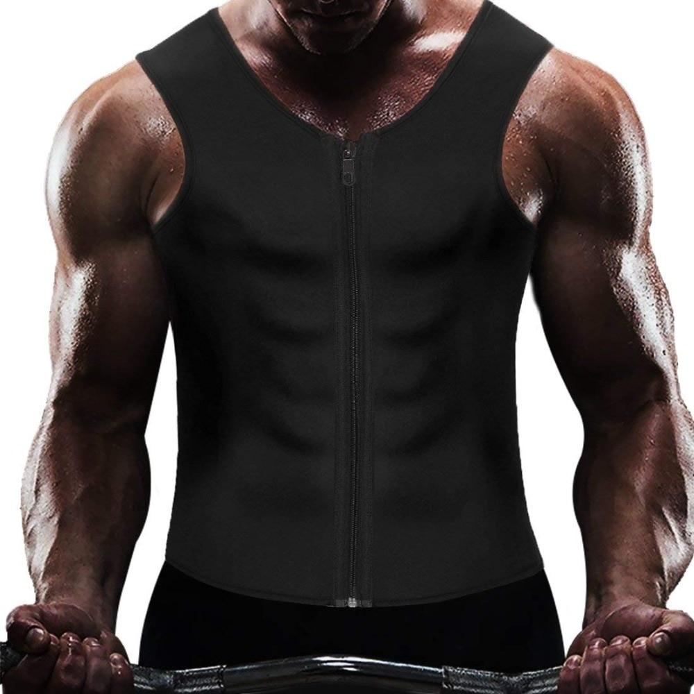 Men Neoprene Zipper Waist Trainer Vest Shapewear Body Shaper Slimming Workout Thermal Muscle Underwear Shapers Fajas Top
