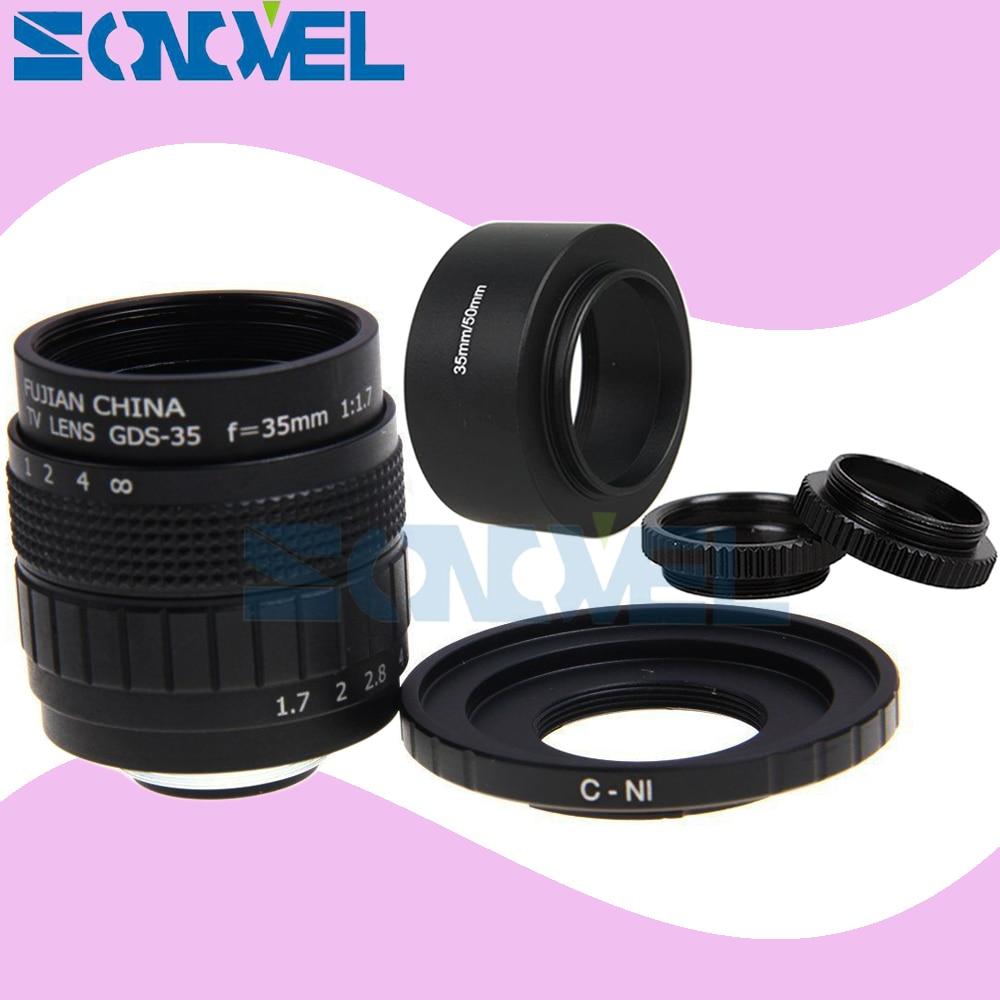 FUJIAN 35mm F1.7 CCTV TV Movie lens + C Mount +Macro ring + metal Lens hood for Nikon 1 AW1 S2 J5 J4 J3 J2 J1 V3 V2 V1 C-NI