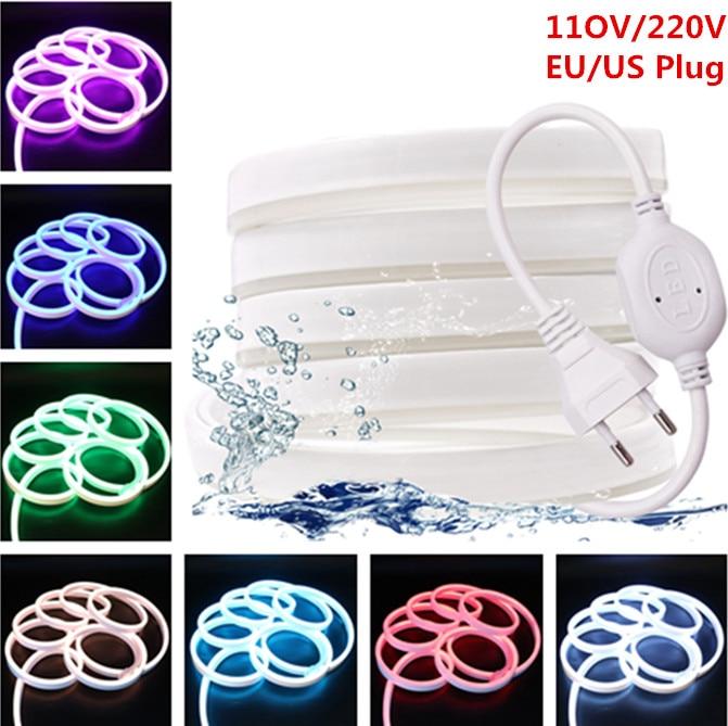 220V 110V LED Strip RGB Neon Flex Rope Light Waterproof IP68 LED Tape  TV Dimmer Flexible Ribbon For Decorative Outdoor Lighting