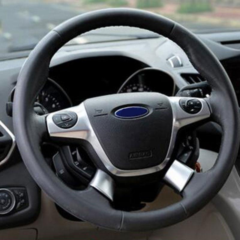 Color de mi vida cromo ABS cubierta de volante de lentejuelas adhesivo para Ford Focus 3 Mk3 Kuga escapar 2012, 2013, 2014, 2015 2 unids/set