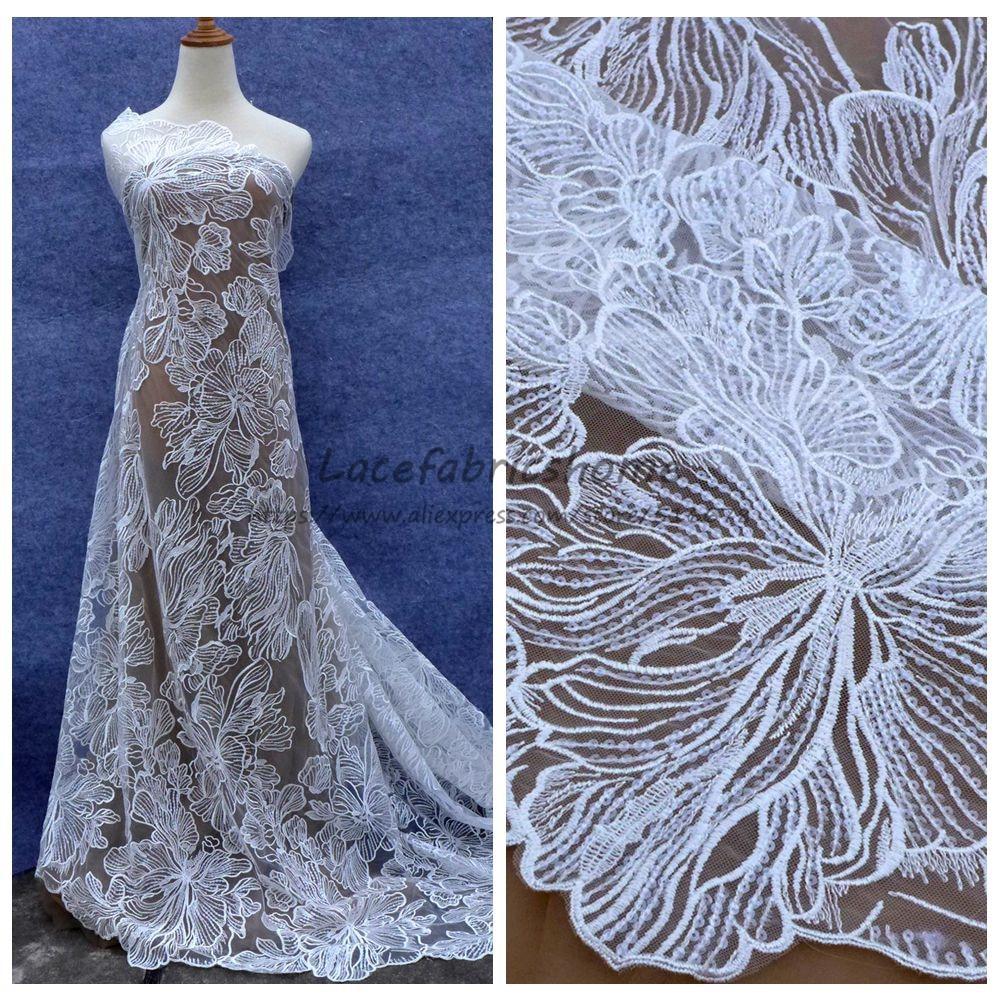La Belleza 1 yarda nuevo estilo de moda Blanco/Negro lentejuelas red vestido de novia tela de encaje 51 ancho venta por yarda al por mayor