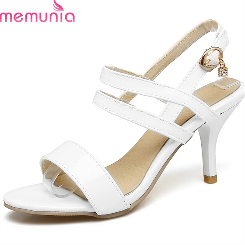 MEMUNIA 2020 חדש סגנון נשים סנדלי פשוט אבזם אופנה נעלי גדול גודל 35-47 מתוק ורוד מסיבת חתונה נעליים עקבים גבוהים נעליים