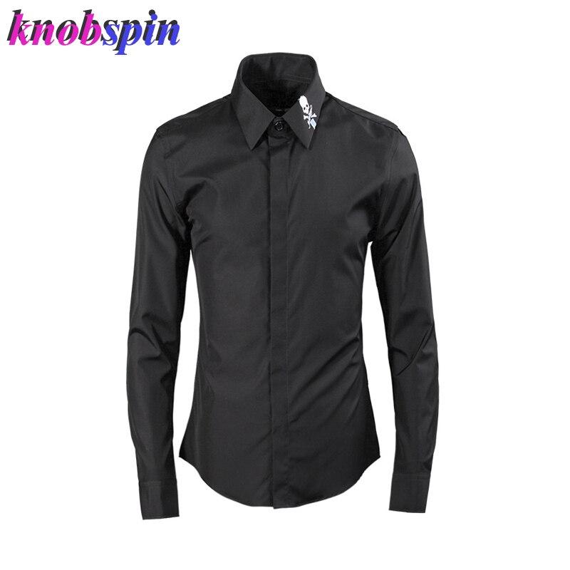 الصلبة الرجال قميص 2019 كم طويل كول الجمجمة التطريز طوق سليم عادية الأعمال الذكور فستان قمصان ماركة 80% القطن kamas