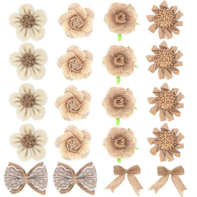 Flores de arpillera 20 piezas. hecho a mano arpillera Natural flor a granel de arpillera de encaje Bowknot arpillera flor con Bud arpillera de hibisco de flujo boda
