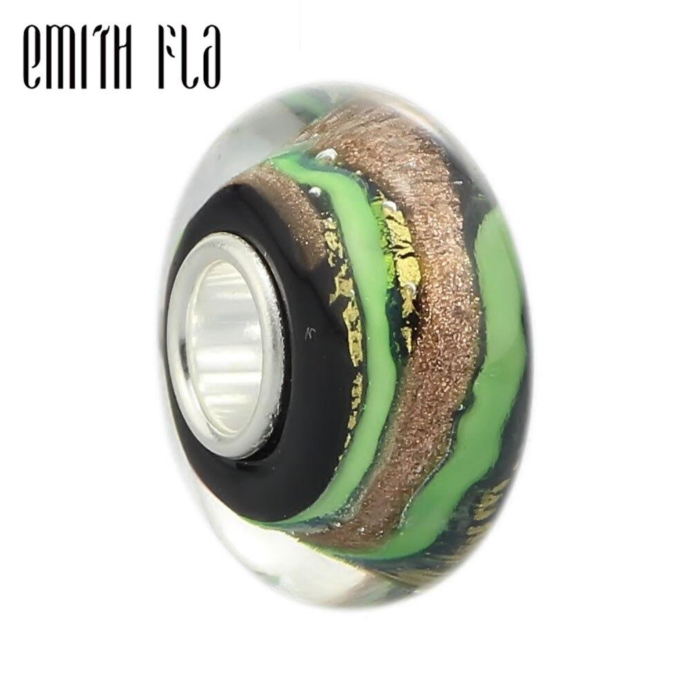 Бусина из муранского стекла Emith Fla 100% реальной искусственной серебряной и золотой