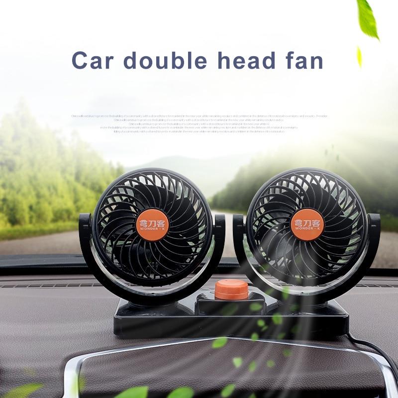 De carga USB portátil de coche eléctrico ventilador de aire acondicionado verano escritorio ventilador de mesa de doble cabeza de rotación de 360 grados mudo Fan para coche