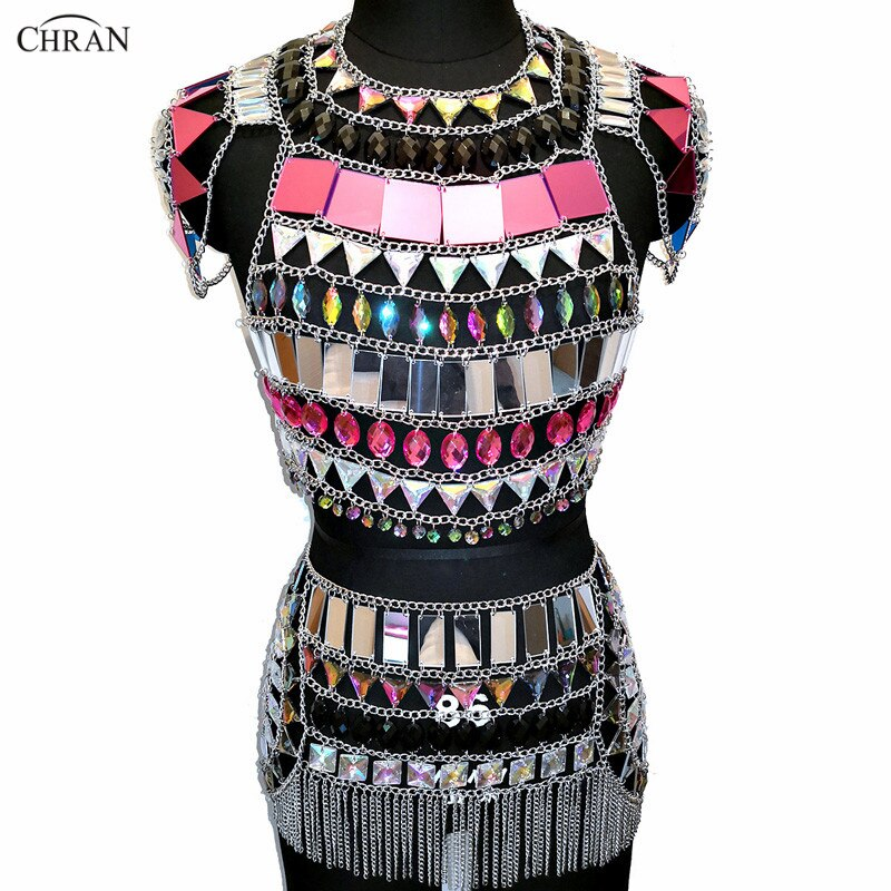 AB Iridescent Nightclub Party Crop Tops EDM Chain Bra Rave Skirt Set Bikini Dress Festival Outfit Burning Man Wear Party Jewelry