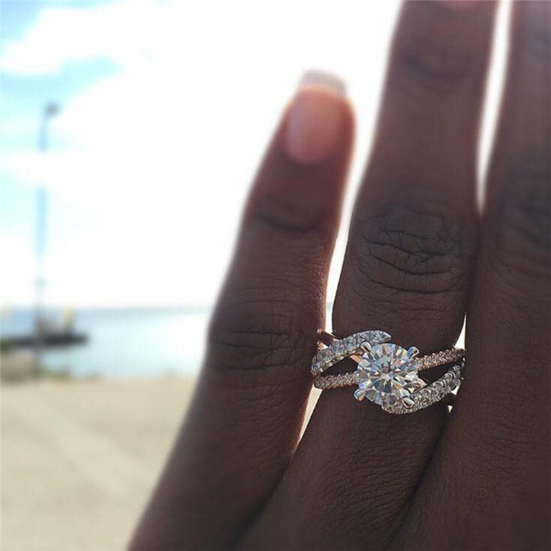 Круглые кольца с фианитом AAA для женщин Помолвочное кольцо Женское из розового