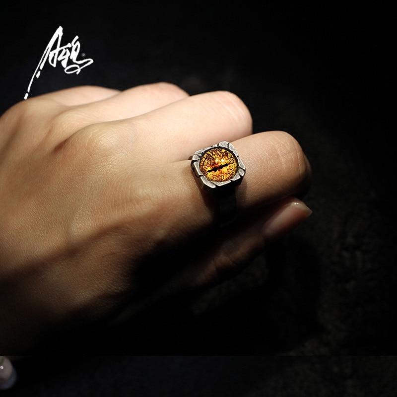 Personalidade 8 cores olho anel artesanal personalizado s925 sliver fantasmas olhos gótico vintage anéis rock festa punk masculino boyjewelry