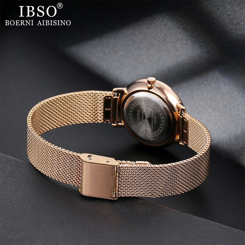 IBSO Women's Quartz Watches Rose Gold Ultra thin Stainless Steel Mesh Strap Quartz Clock Hours Ladies Simple Relogio Masculino enlarge