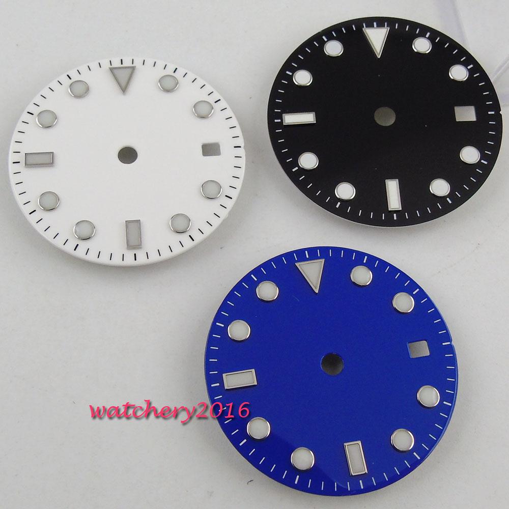 31.3mm Bliger Luminous Marks blue Watch dial date fit MingZhu 2813 3804 Miyota 82 movement
