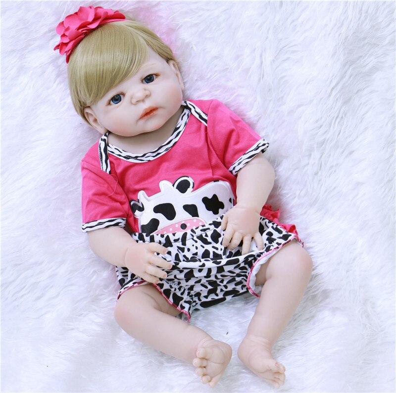 """Venta al por mayor bebes reborn 23 """"57 cm de silicona completa reborn baby dolls realista Victoria girl pelo rubio reborn bebés niños juguete de regalo"""