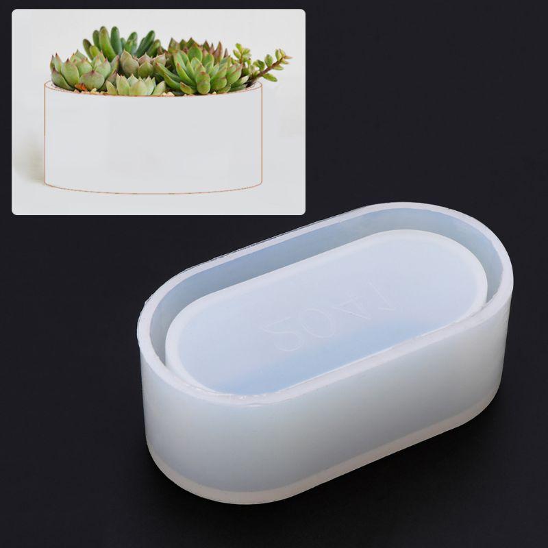 Lange Ellipse Blumentopf Silikon Mould Lagerung Box DIY Handgemachte Herstellung Handwerk Kristall Epoxy Form epoxy harz für schmuck machen
