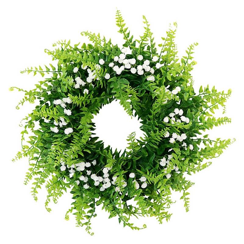 Corona artificial realista Gypsophila de 36cm para la puerta con forma de flor colgante para pared ventana boda fiesta decoración de Navidad