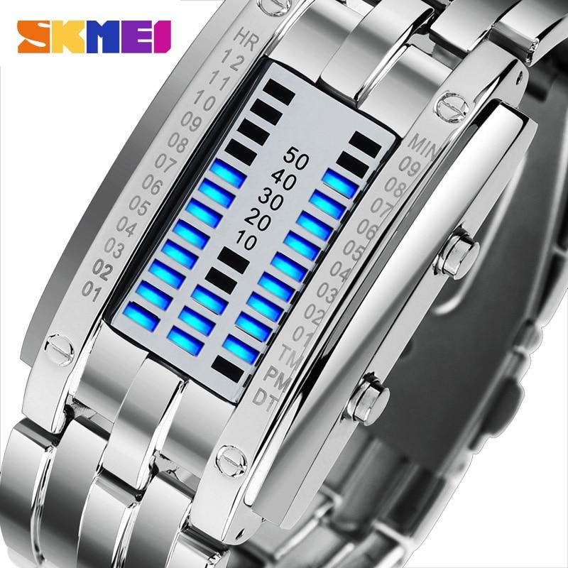 SKMEI 0926-ساعة رقمية LED إبداعية ثنائية ، سوار من الفولاذ المقاوم للصدأ ، مقاومة للماء ، للرجال والنساء
