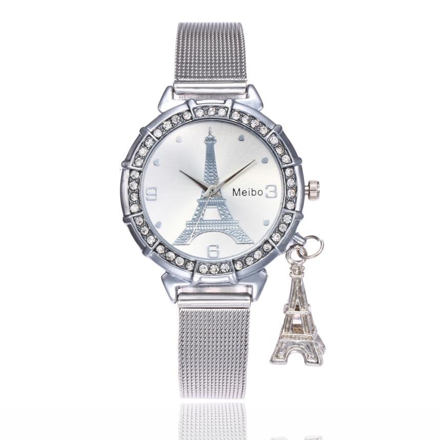 Reloj de pulsera de cristal de oro de lujo de reloj de pulsera de cuarzo de pulsera de moda para mujer 2019